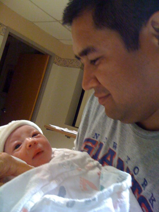 my husband looking over our newly delivered bundle of joy, june 19 2010